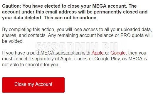 mega account delete