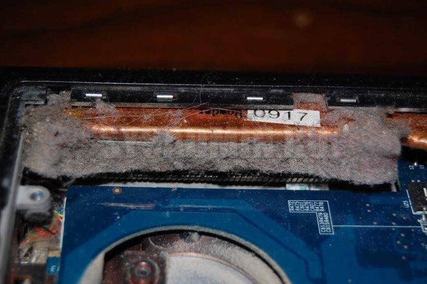 радиатор ноутбука в пыли