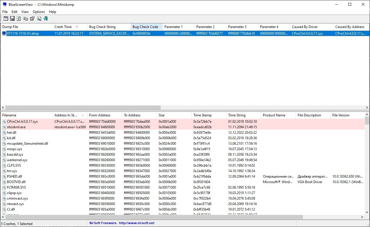 Интерфейс программы BlueScreenView