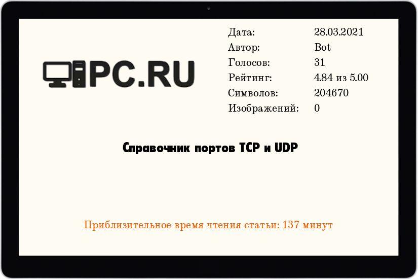 Справочник портов TCP и UDP